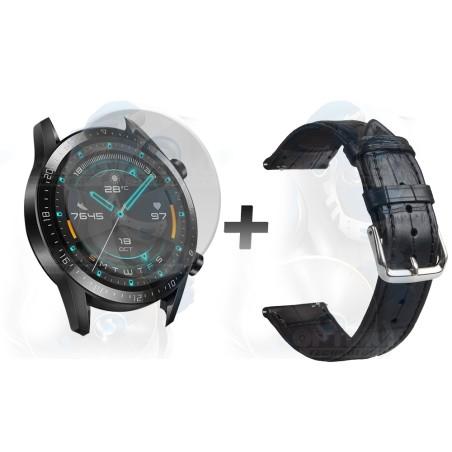 Pulso Correa De Cuero Y Cristal Smartwatch Huawei Gt 2 46mm