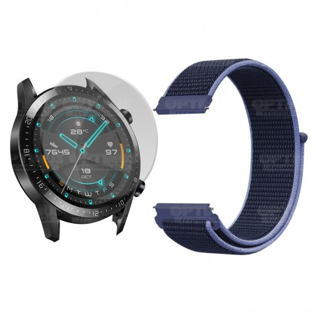 KIT Correa tipo velcro tela suave y Vidrio templado Reloj Smartwatch Huawei GT2 46mm