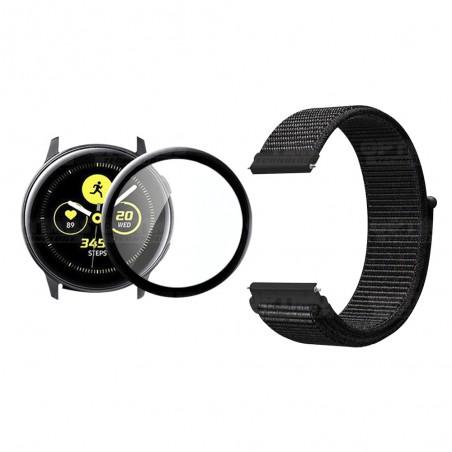 KIT Correa tipo velcro y Vidrio templado cerámico para Reloj Smartwatch Samsung Galaxy Active 44mm
