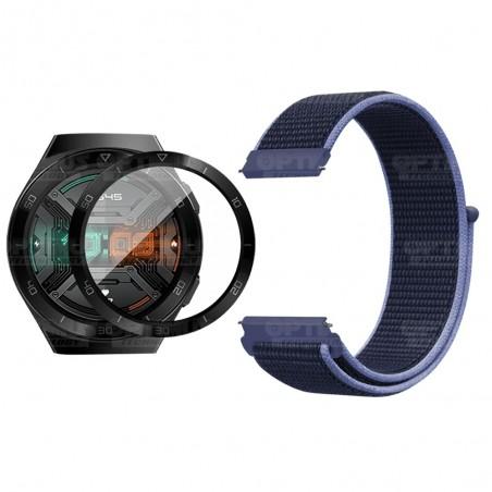 KIT Correa tipo velcro y Vidrio templado cerámico para Reloj Smartwatch Huawei GT 2E 46mm