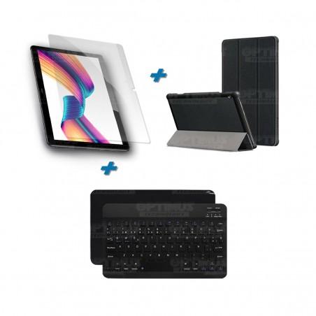 Kit Vidrio templado + Case Forro Protector + Teclado y Mouse Ratón Bluetooth para Tablet Huawei T3-10