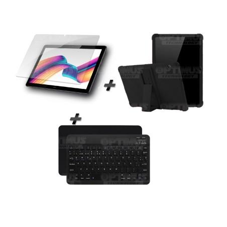 Kit Vidrio templado + Estuche Protector Goma + Teclado y Mouse Ratón Bluetooth para Tablet Huawei T5-10