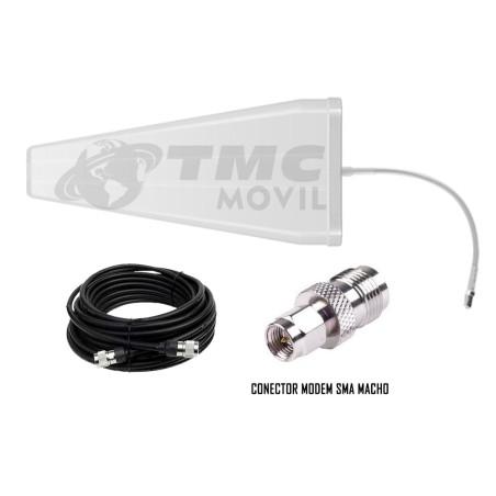 Antena amplificadora de señal Cuatriband TMC Plus 4GLTE 65dB Surecall SC-231W + 10 metros de cable RG-6