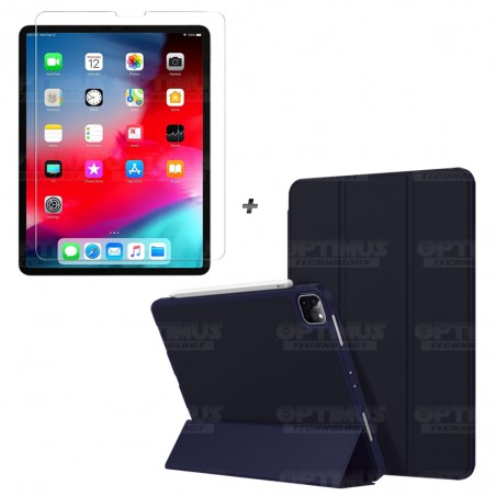 Kit Vidrio Cristal Templado Y Estuche Case Protector con portalápiz Tablet iPad Pro 12.9 2019