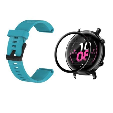 Kit Manilla Correa Y Vidrio Templado Cerámico Protector Para Reloj Huawei Gt2 42mm