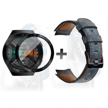 Vidrio Templado Cerámico Y Correa de cuero Smartwatch Reloj Inteligente Huawei Gt2E