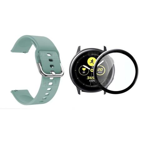Kit Pulso Correa Y Vidrio Templado Nanoglass Protector Para Reloj Samsung Galaxy Active 2 44mm