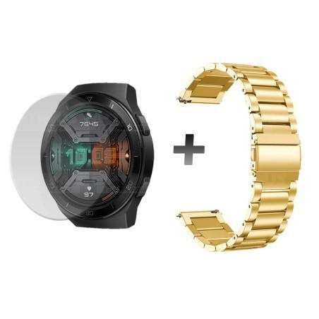 Buff Film Screen Protector Y Correa de Metal Inoxidable Smartwatch Reloj Inteligente Huawei Gt2E
